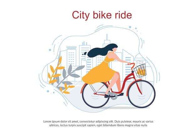Happy cartoon vrouw in jurk ride bike city street Premium Vector