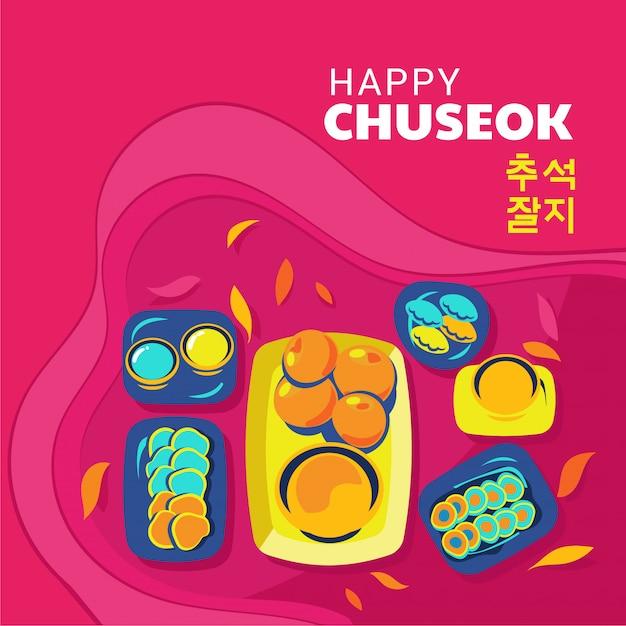 Happy chuseok of thanksgiving dag eten in het koreaans Premium Vector
