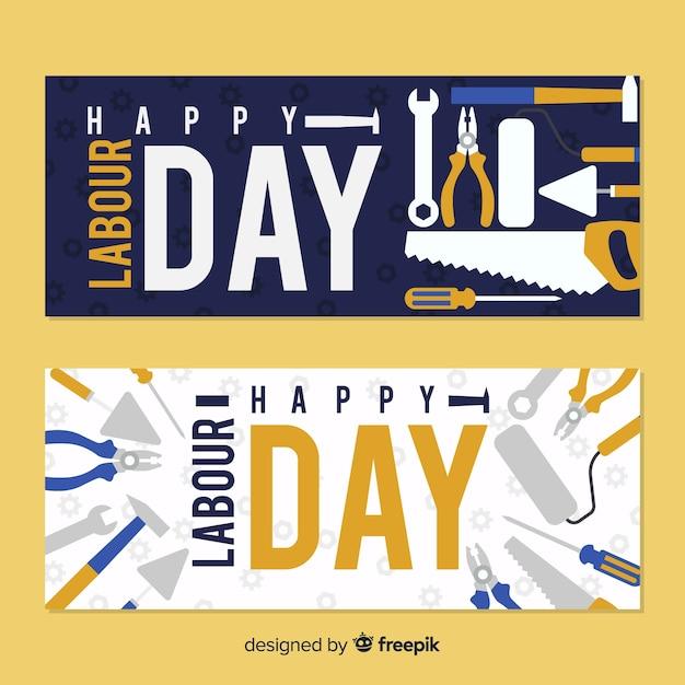 Happy dag van de arbeid banners Gratis Vector