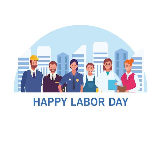 Happy dag van de arbeid-kaart, usa vakantie Premium Vector
