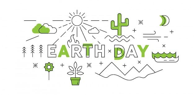 Happy earth day platte lijn ontwerp in het groen Premium Vector