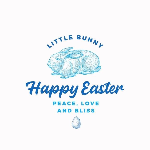 Happy easter bunny abstract teken, symbool of logo Gratis Vector