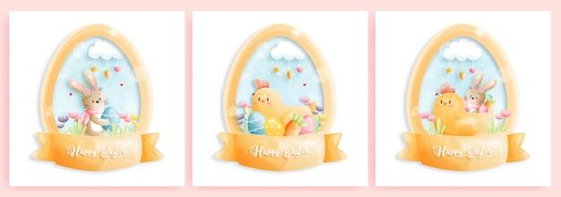 Happy easter card set met schattige konijntjes in eivorm. Premium Vector