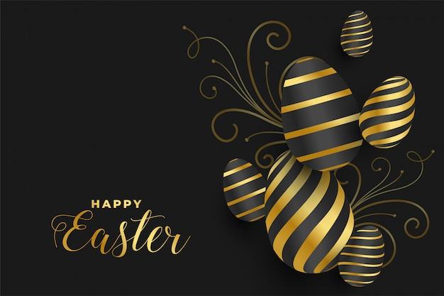 Happy easter gouden eieren festival banner Gratis Vector