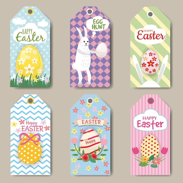 Happy easter labels of tags instellen met konijn, ei Premium Vector