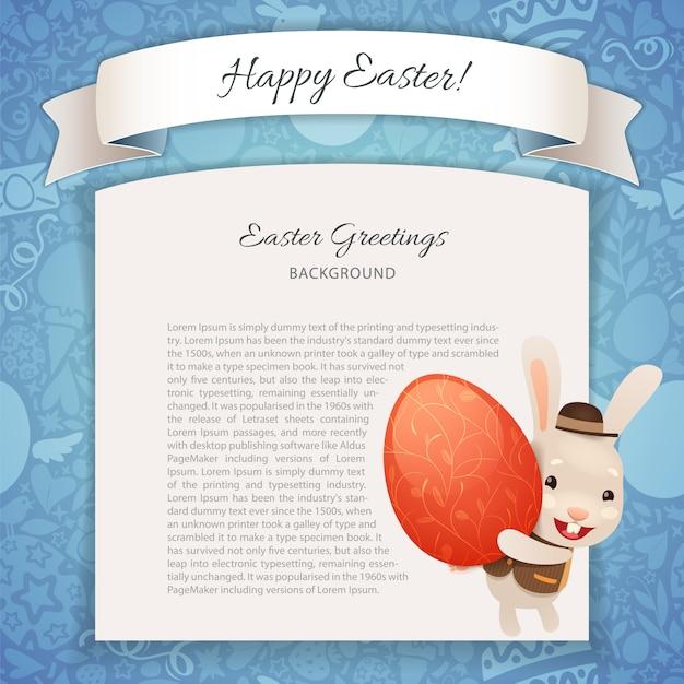 Happy easter poster met banny Premium Vector