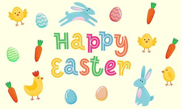 Happy easter vector schattig banner met gekleurde sierlijke eieren Premium Vector