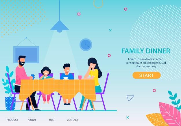 Happy family dinner conceptual flat landing page Premium Vector