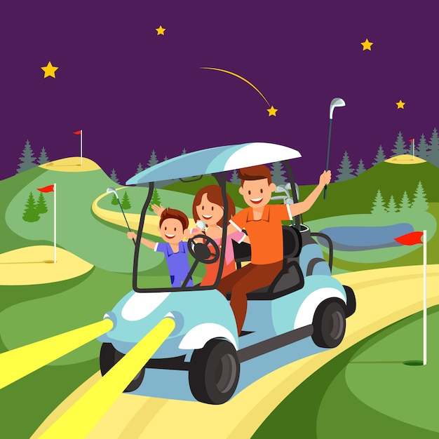 Happy family ride by cart op de golfbaan 's nachts. Premium Vector