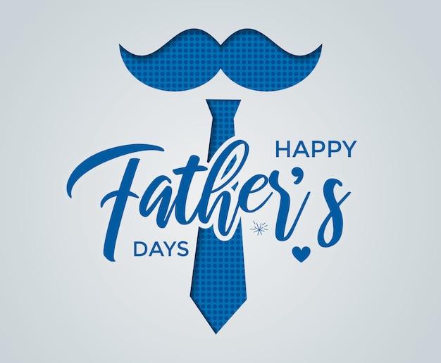 Happy father's day kalligrafie wenskaart met papier gesneden effect Premium Vector