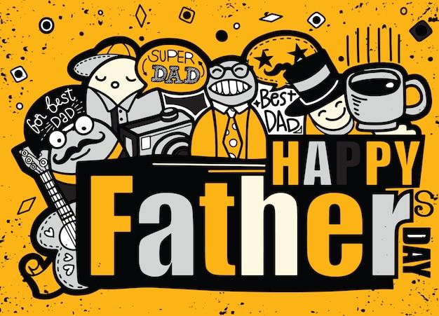 Happy fathers day hand getrokken illustratie met tekst. Premium Vector