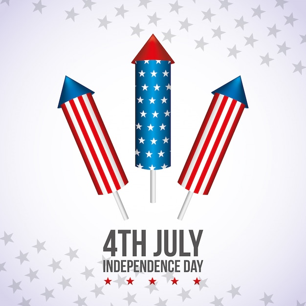 Happy fourth of july. independence day-kaart Premium Vector