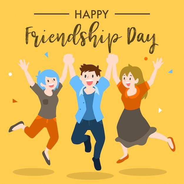 Happy friendship day design Premium Vector