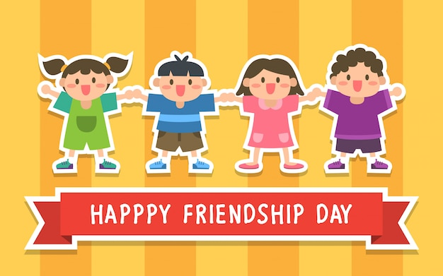 Happy friendship day illustratie met kinderen Premium Vector