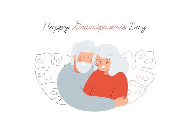 Happy grootouders dag wenskaart. ouderen omhelzen elkaar met liefde. Premium Vector
