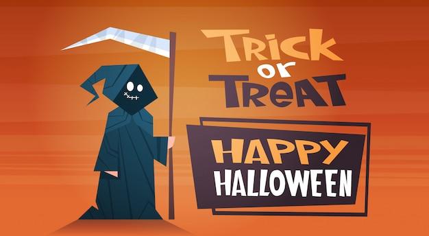 Happy halloween-banner met leuke cartoon death trick or treat Premium Vector