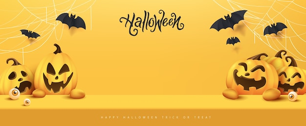 Happy halloween banner studio tafelkamer product display met kopie ruimte Premium Vector