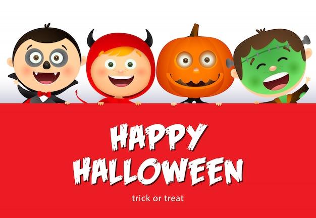 Happy halloween belettering en lachende kinderen in monsters kostuums Gratis Vector