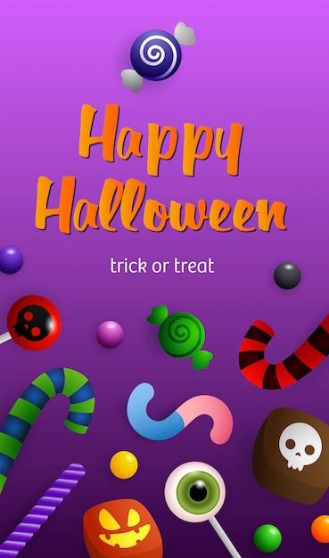 Happy halloween belettering met snoep en snoep stokken Gratis Vector