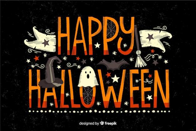 Happy halloween belettering op zwarte achtergrond Gratis Vector