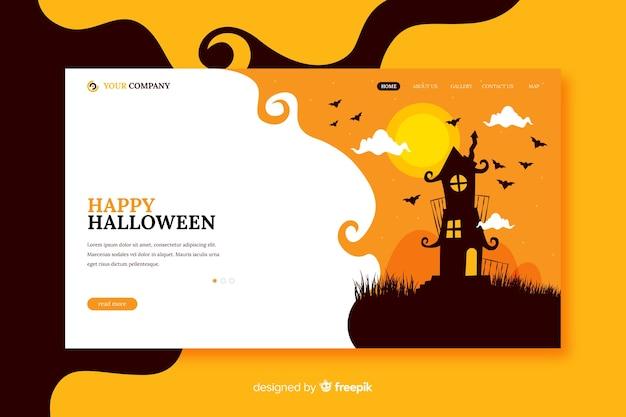 Happy halloween-bestemmingspagina in plat ontwerp Gratis Vector