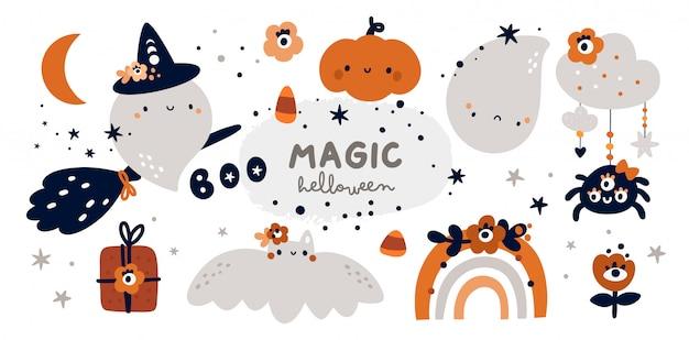 Happy halloween collectie spook, heks, pompoen, regenboog Premium Vector