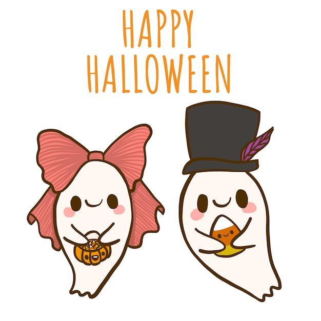 Happy halloween met twee kleine schattige geesten. Premium Vector