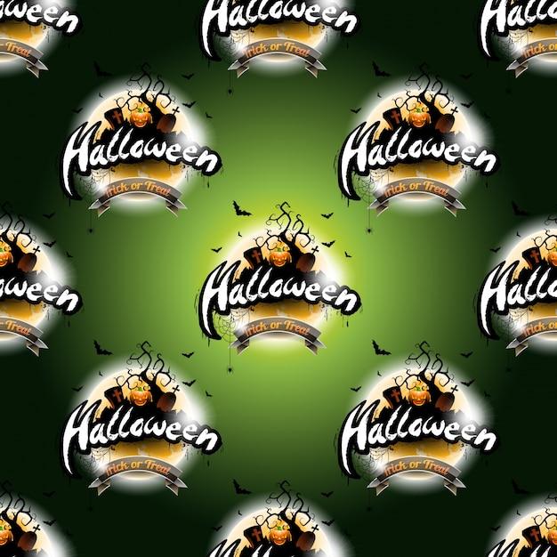 Happy halloween naadloze patroon illustratie met maan en pompoen op een donkere groene achtergrond. Premium Vector