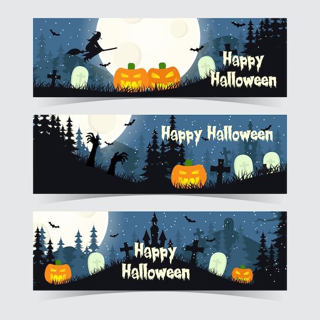 Happy halloween night banner template Premium Vector