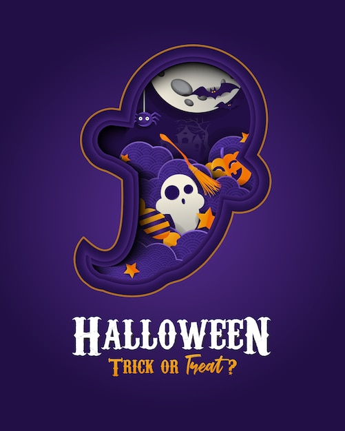 Happy halloween papercut-stijlbanner Premium Vector