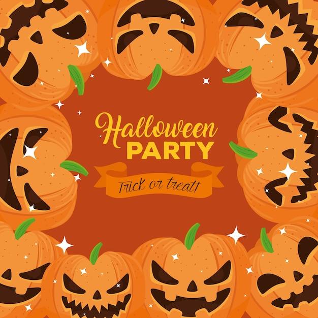 Happy halloween party banner met frame van pompoenen Premium Vector