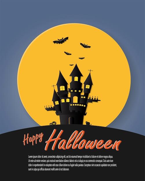 Happy halloween poster donker kasteel op volle maan achtergrond Premium Vector