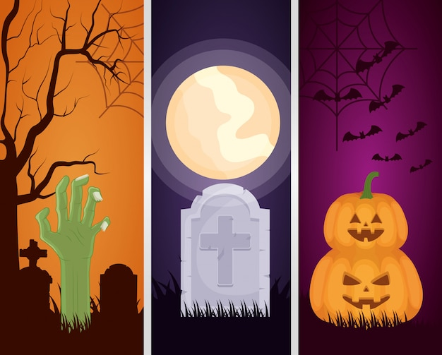 Happy halloween set donker s Gratis Vector