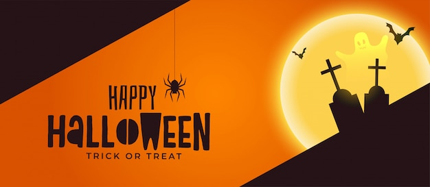 Happy halloween spooky banner met graf en geest Gratis Vector