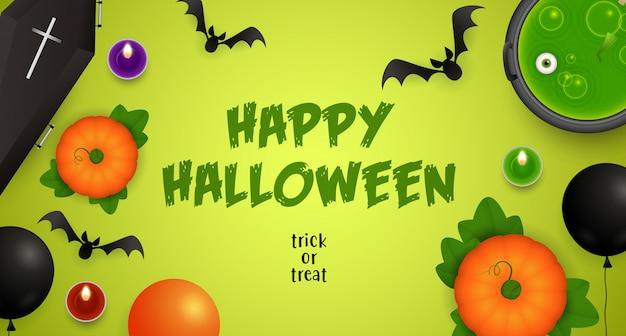 Happy halloween, trick or treat-letters met drankje en vleermuizen Gratis Vector