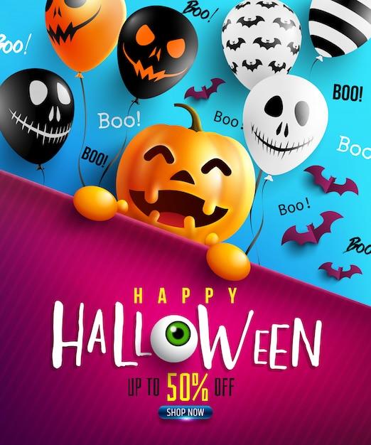 Happy halloween-trick or treat met happy halloween-pompoen en enge luchtballonnen Premium Vector