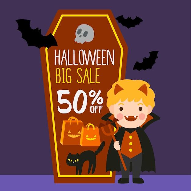 Happy halloween-verkoop. Premium Vector