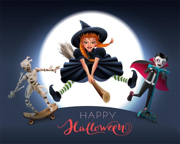 Happy halloween-wenskaarttekst. heks op bezem, mama en vampier in de nacht Premium Vector