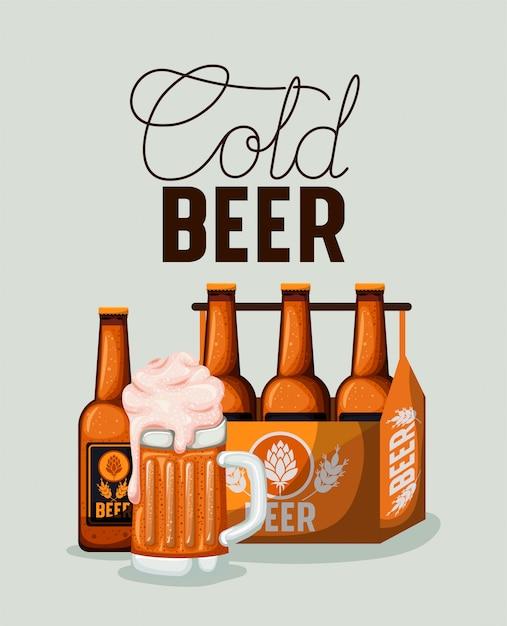 Happy hour bieren label met flessen in de mand Premium Vector