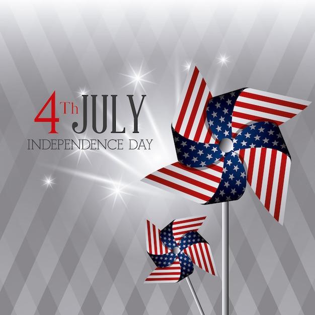 Happy independence day wenskaart, 4 juli, usa ontwerp Gratis Vector