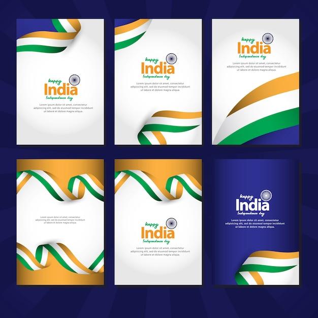 Happy india independence day en republic day celebrations Premium Vector