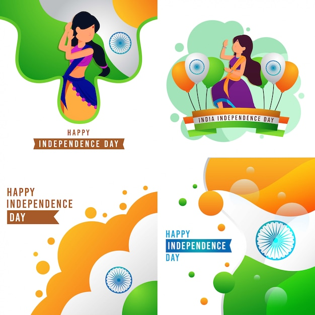 Happy india independence day Premium Vector