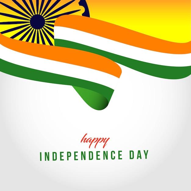 Happy india onafhankelijke dag sjabloon illustratie Premium Vector