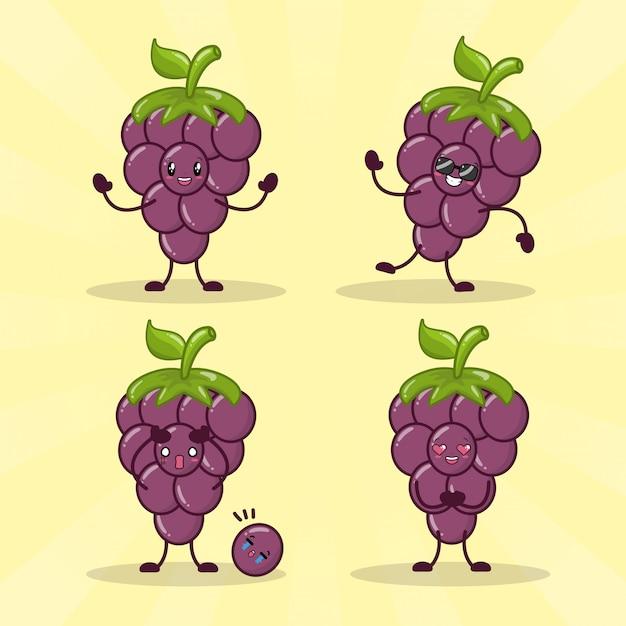 Happy kawaii druiven emoji's Gratis Vector