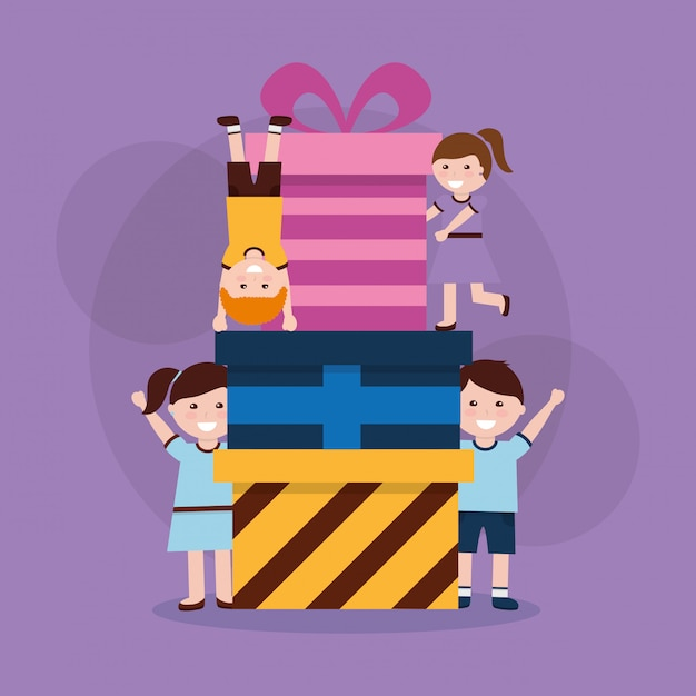 Happy kids cartoon Premium Vector