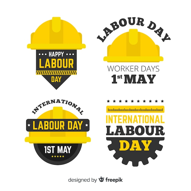 Happy labour day badge collectie Gratis Vector