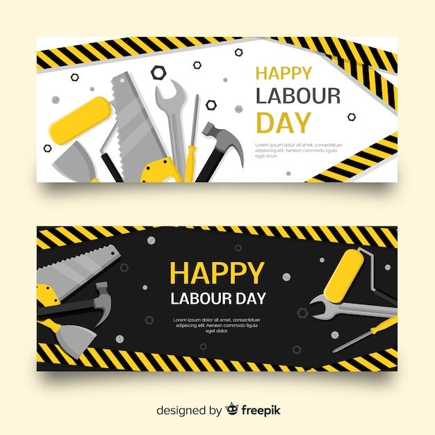 Happy labour day platte banner voor web- en sociale media Gratis Vector