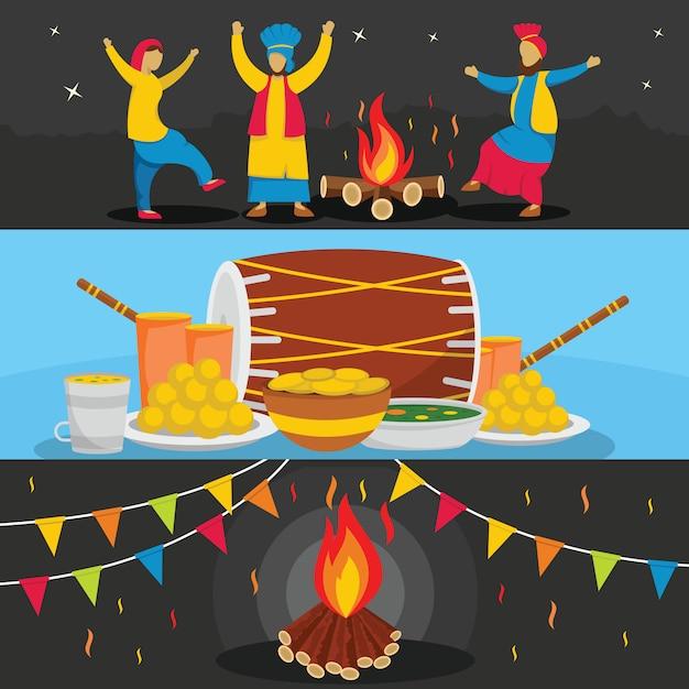 Happy lohri festival achtergronden Premium Vector