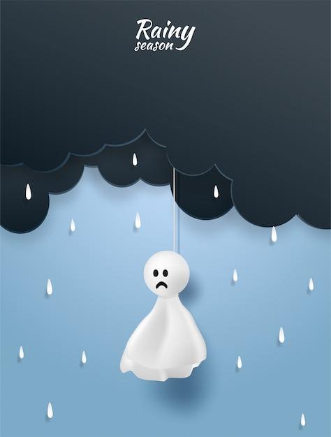 Happy moesson, regenseizoen achtergrond Premium Vector
