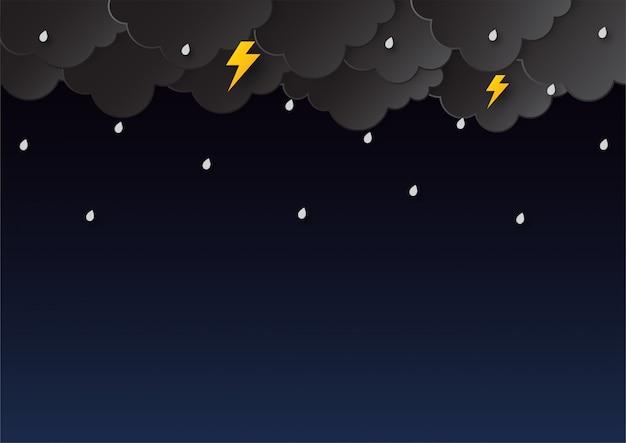 Happy moesson seizoen achtergrond. regenachtige papier kunststijl. Premium Vector